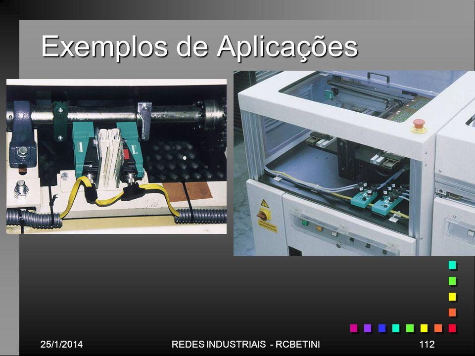 Exemplos de Aplicações 25/1/2014112REDES INDUSTRIAIS - RCBETINI