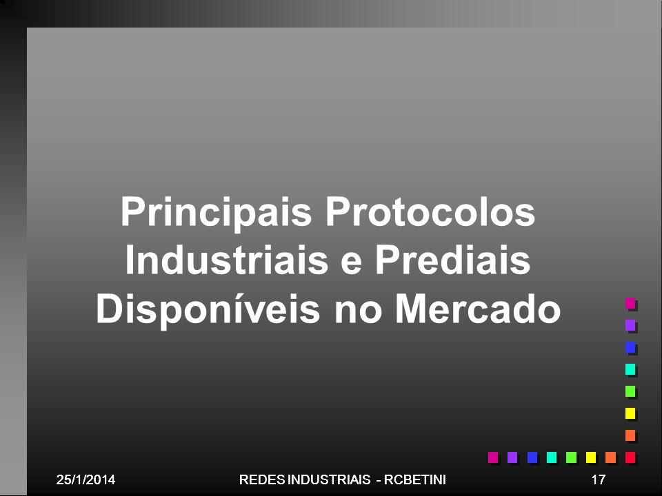 25/1/201417REDES INDUSTRIAIS - RCBETINI25/1/201417REDES INDUSTRIAIS - RCBETINI Principais Protocolos Industriais e Prediais Disponíveis no Mercado