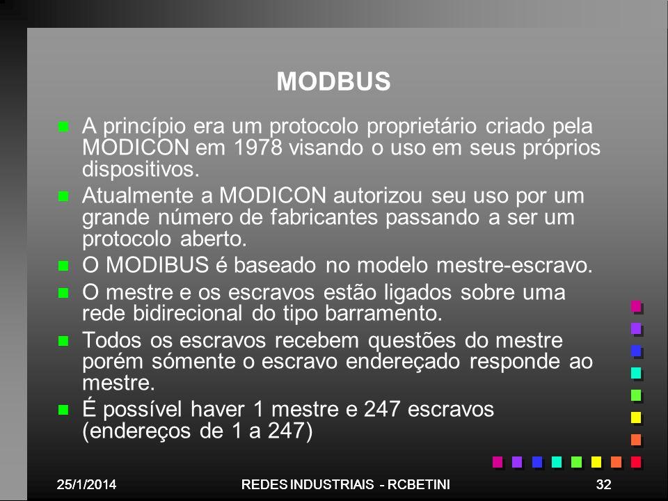 25/1/201432REDES INDUSTRIAIS - RCBETINI25/1/201432REDES INDUSTRIAIS - RCBETINI MODBUS n n A princípio era um protocolo proprietário criado pela MODICO