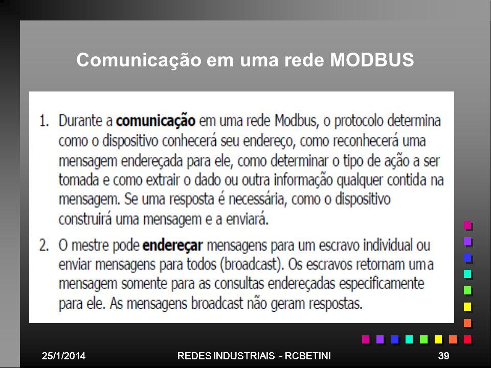 25/1/201439REDES INDUSTRIAIS - RCBETINI25/1/201439REDES INDUSTRIAIS - RCBETINI Comunicação em uma rede MODBUS