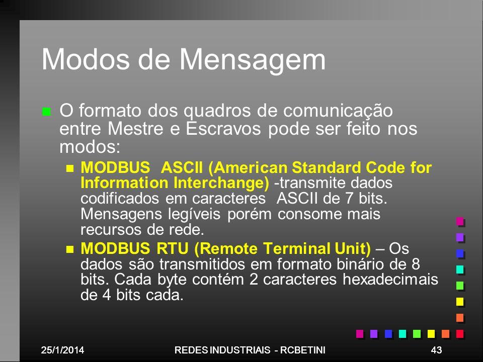25/1/201443REDES INDUSTRIAIS - RCBETINI25/1/201443REDES INDUSTRIAIS - RCBETINI Modos de Mensagem n n O formato dos quadros de comunicação entre Mestre