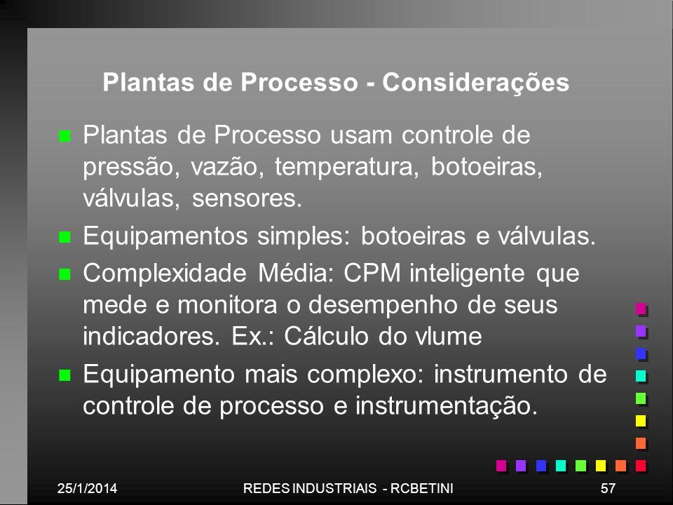 25/1/201457REDES INDUSTRIAIS - RCBETINI Plantas de Processo - Considerações n n Plantas de Processo usam controle de pressão, vazão, temperatura, boto