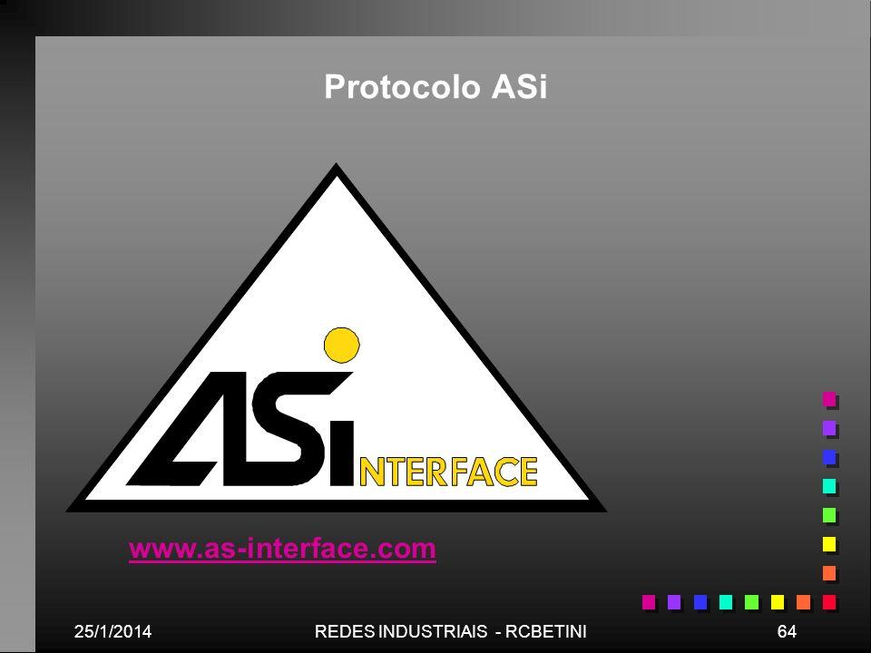 25/1/201464REDES INDUSTRIAIS - RCBETINI www.as-interface.com Protocolo ASi
