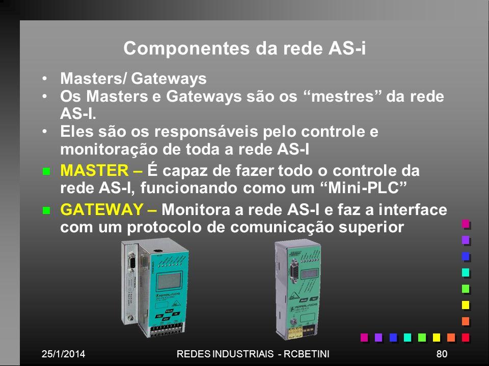 25/1/201480REDES INDUSTRIAIS - RCBETINI Componentes da rede AS-i Masters/ Gateways Os Masters e Gateways são os mestres da rede AS-I. Eles são os resp