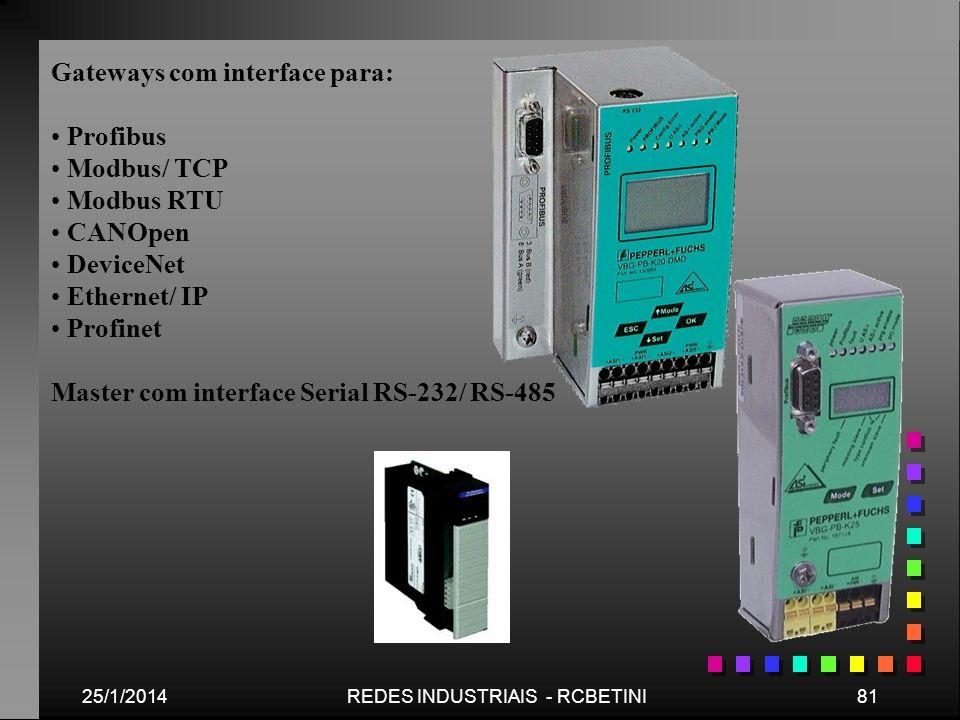 25/1/201481REDES INDUSTRIAIS - RCBETINI Gateways com interface para: Profibus Modbus/ TCP Modbus RTU CANOpen DeviceNet Ethernet/ IP Profinet Master co