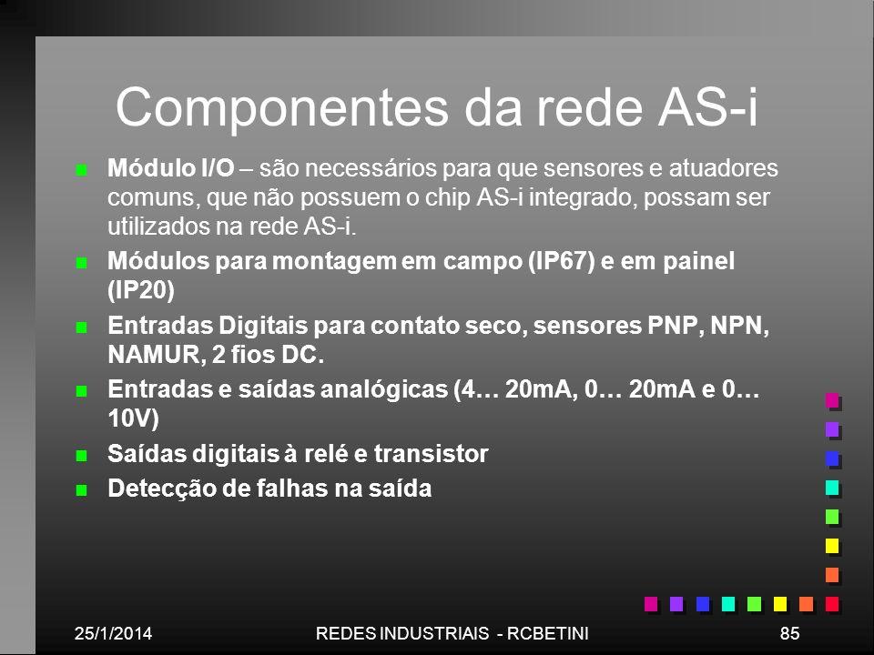 25/1/201485REDES INDUSTRIAIS - RCBETINI Componentes da rede AS-i n n Módulo I/O – são necessários para que sensores e atuadores comuns, que não possue