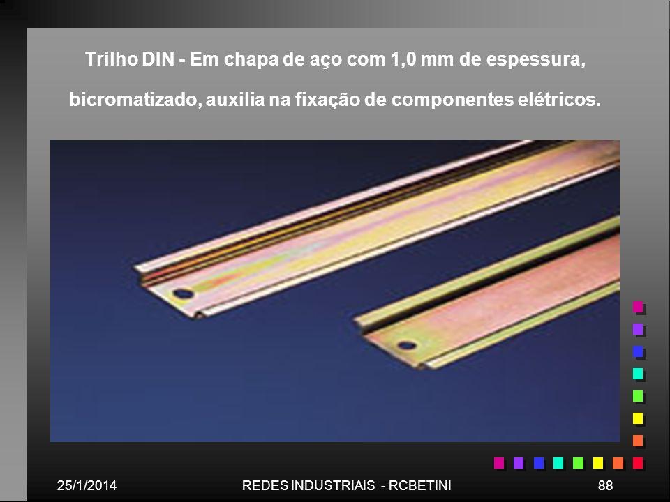 25/1/201488REDES INDUSTRIAIS - RCBETINI Trilho DIN - Em chapa de aço com 1,0 mm de espessura, bicromatizado, auxilia na fixação de componentes elétric