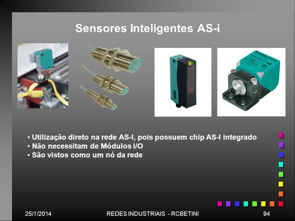 25/1/201494REDES INDUSTRIAIS - RCBETINI Sensores Inteligentes AS-i Utilização direto na rede AS-I, pois possuem chip AS-I integrado Não necessitam de