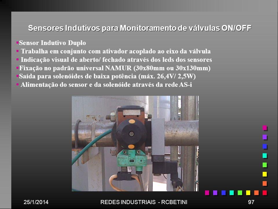 Sensores Indutivos para Monitoramento de válvulas ON/OFF 25/1/201497REDES INDUSTRIAIS - RCBETINI Sensor Indutivo Duplo Trabalha em conjunto com ativad