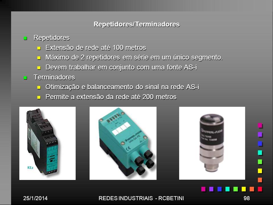 Repetidores/Terminadores n Repetidores n Extensão de rede até 100 metros n Máximo de 2 repetidores em série em um único segmento. n Devem trabalhar em