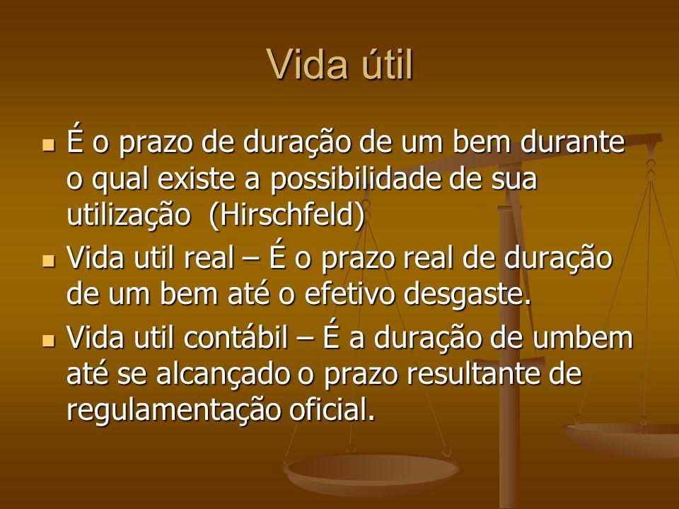 Vida útil É o prazo de duração de um bem durante o qual existe a possibilidade de sua utilização (Hirschfeld) É o prazo de duração de um bem durante o