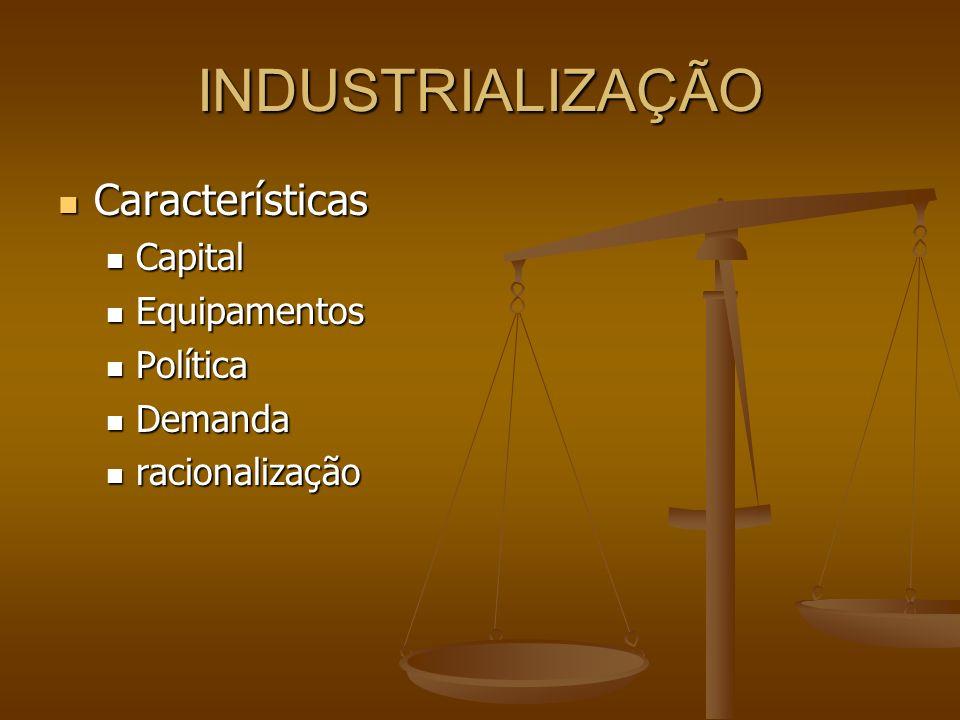 INDUSTRIALIZAÇÃO Características Características Capital Capital Equipamentos Equipamentos Política Política Demanda Demanda racionalização racionalização