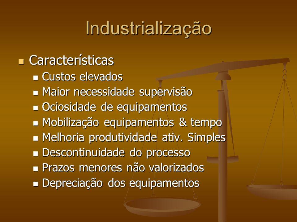 Industrialização Características Características Custos elevados Custos elevados Maior necessidade supervisão Maior necessidade supervisão Ociosidade