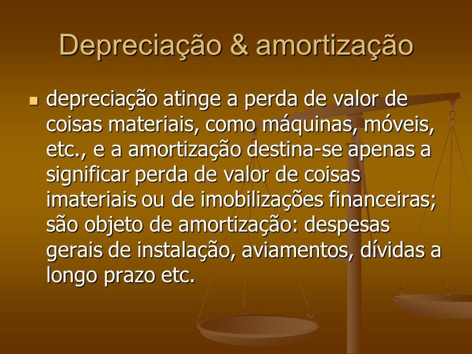 Depreciação & amortização depreciação atinge a perda de valor de coisas materiais, como máquinas, móveis, etc., e a amortização destina-se apenas a si