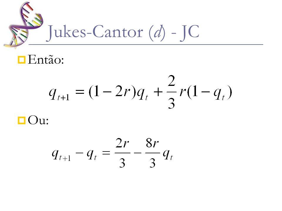 Então: Ou: Jukes-Cantor (d) - JC
