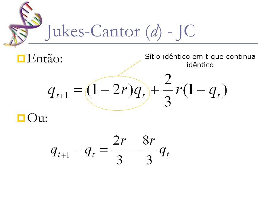 Então: Ou: Jukes-Cantor (d) - JC Sítio idêntico em t que continua idêntico
