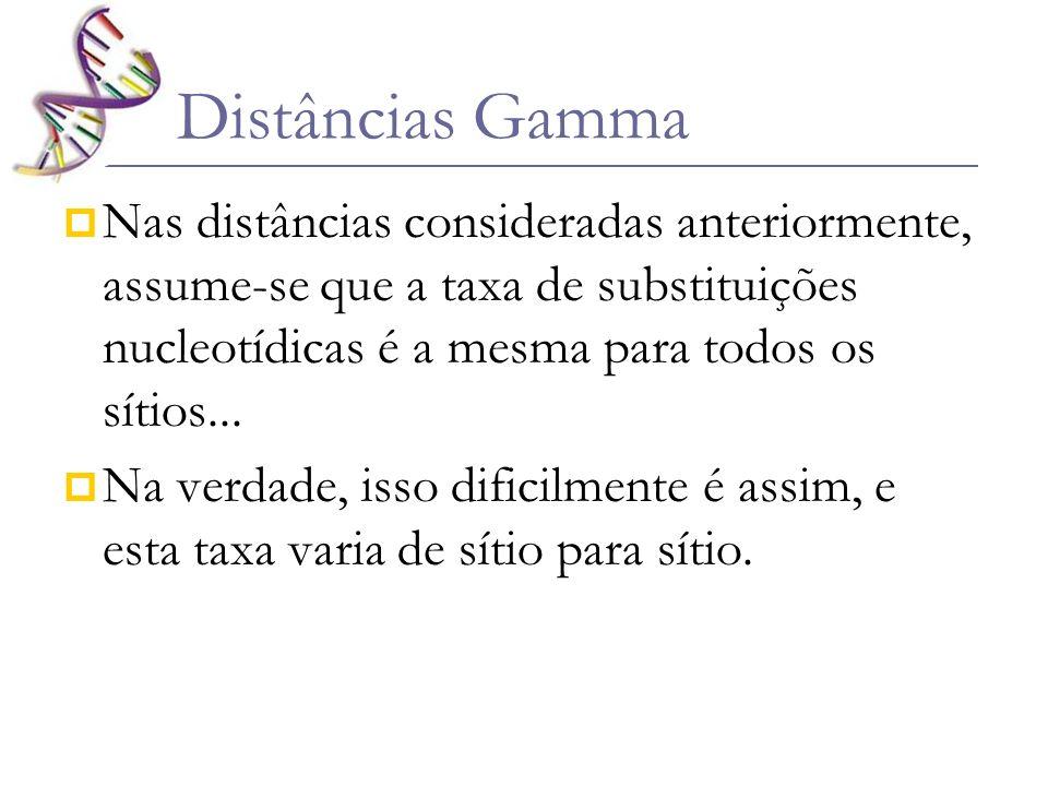 Distâncias Gamma Nas distâncias consideradas anteriormente, assume-se que a taxa de substituições nucleotídicas é a mesma para todos os sítios... Na v