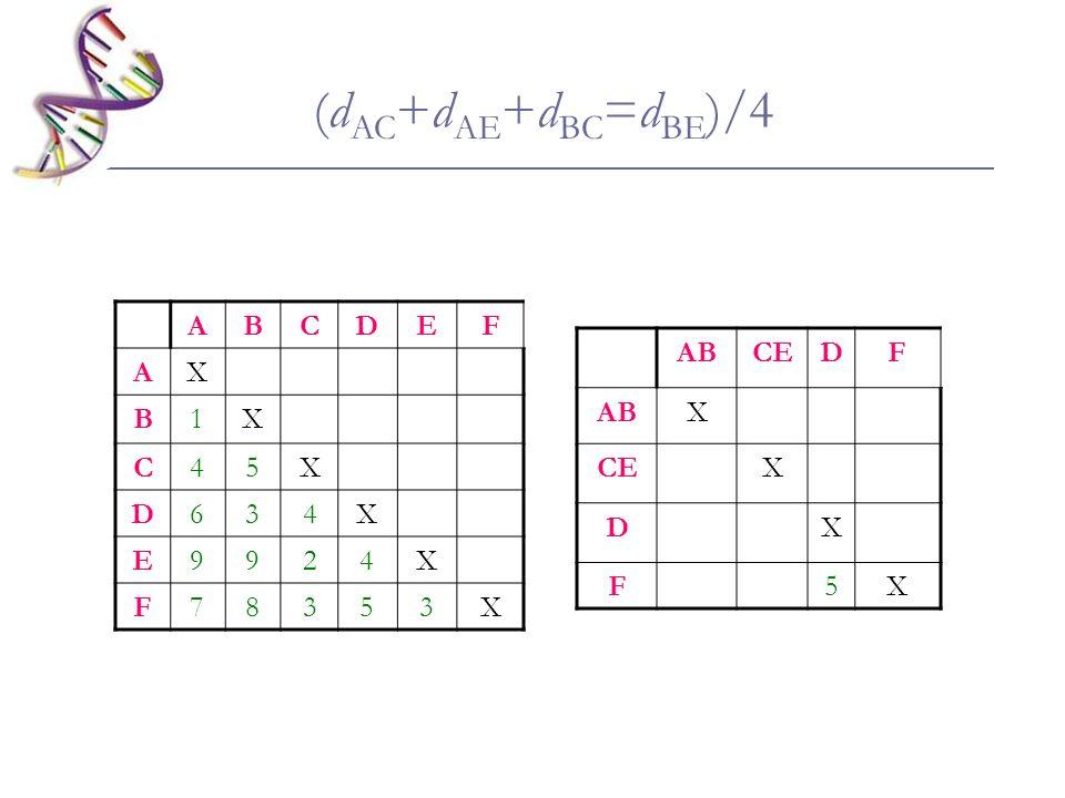 ABCDEF AX B1X C45X D634X E9924X F78353X ABCEDF ABX CEX DX F5X (d AC +d AE +d BC =d BE )/4