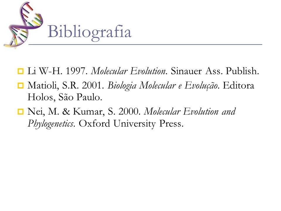 Bibliografia Li W-H. 1997. Molecular Evolution. Sinauer Ass. Publish. Matioli, S.R. 2001. Biologia Molecular e Evolução. Editora Holos, São Paulo. Nei