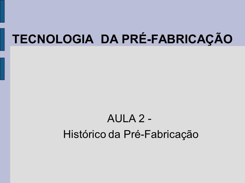 TECNOLOGIA DA PRÉ-FABRICAÇÃO AULA 2 - Histórico da Pré-Fabricação