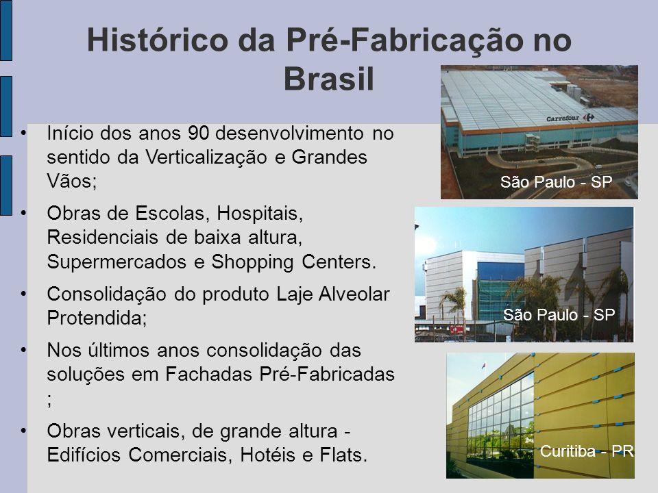 Início dos anos 90 desenvolvimento no sentido da Verticalização e Grandes Vãos; Obras de Escolas, Hospitais, Residenciais de baixa altura, Supermercad