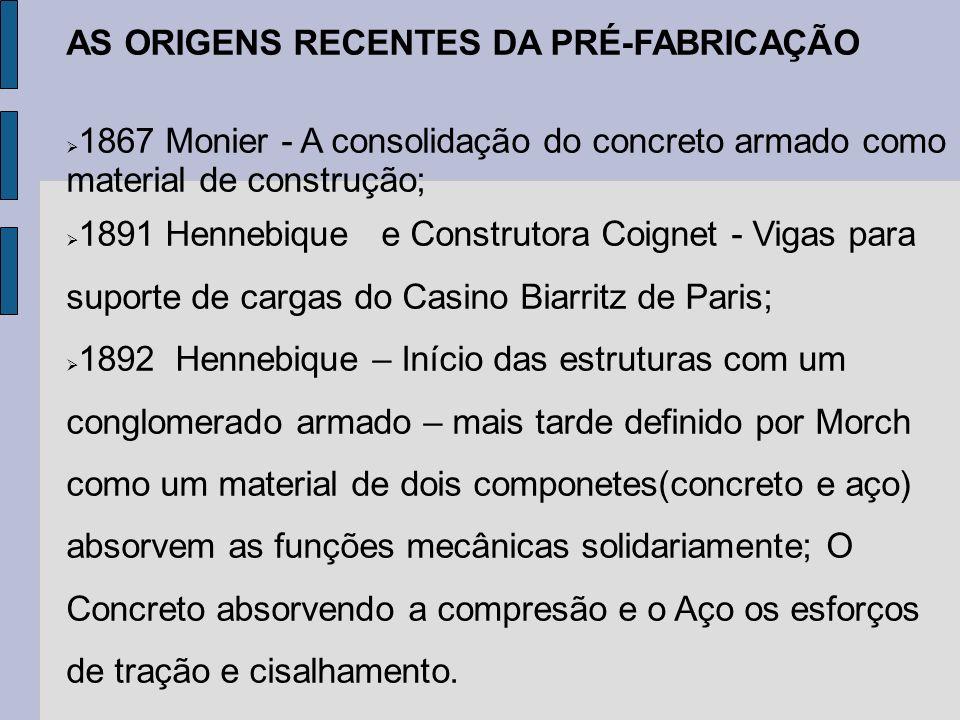 AS ORIGENS RECENTES DA PRÉ-FABRICAÇÃO 1867 Monier - A consolidação do concreto armado como material de construção; 1891 Hennebique e Construtora Coign