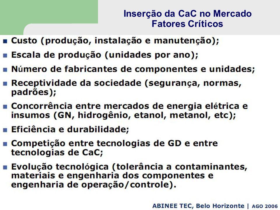 Inserção da CaC no Mercado Fatores Críticos
