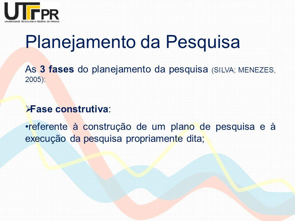 Planejamento da Pesquisa As 3 fases do planejamento da pesquisa (SILVA; MENEZES, 2005): Fase construtiva: referente à construção de um plano de pesqui