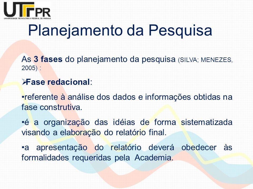 Planejamento da Pesquisa As 3 fases do planejamento da pesquisa (SILVA; MENEZES, 2005) : Fase redacional: referente à análise dos dados e informações