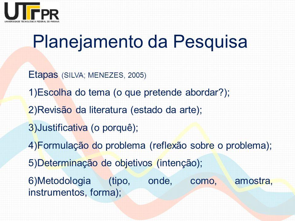 Etapas (SILVA; MENEZES, 2005) 1)Escolha do tema (o que pretende abordar?); 2)Revisão da literatura (estado da arte); 3)Justificativa (o porquê); 4)For