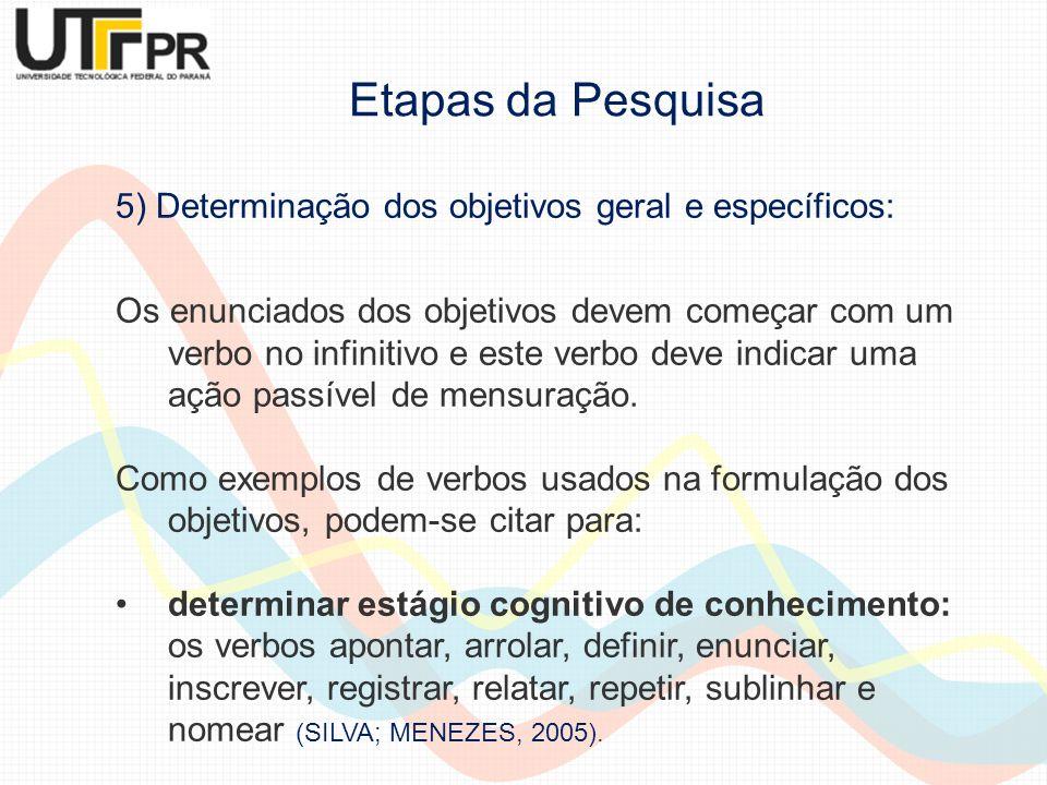 5) Determinação dos objetivos geral e específicos: Os enunciados dos objetivos devem começar com um verbo no infinitivo e este verbo deve indicar uma