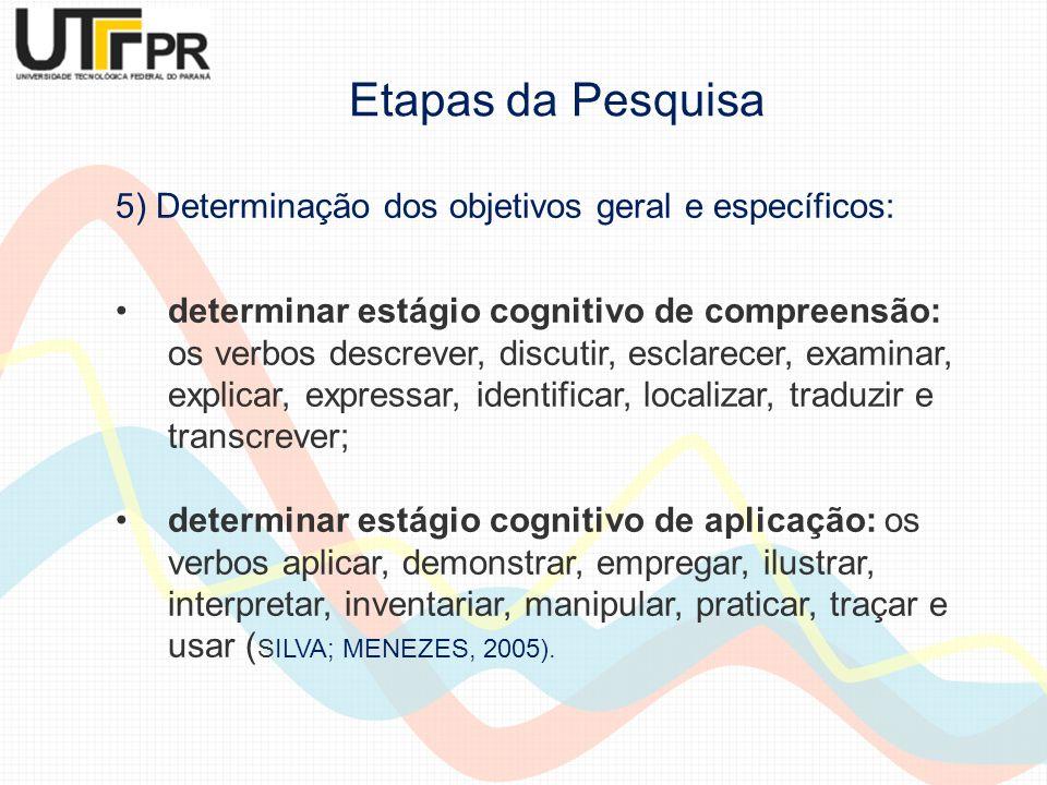 5) Determinação dos objetivos geral e específicos: determinar estágio cognitivo de compreensão: os verbos descrever, discutir, esclarecer, examinar, e