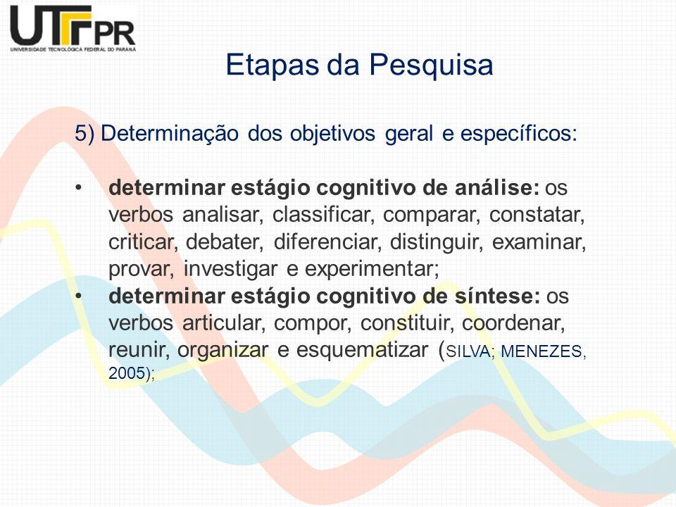 5) Determinação dos objetivos geral e específicos: determinar estágio cognitivo de análise: os verbos analisar, classificar, comparar, constatar, crit