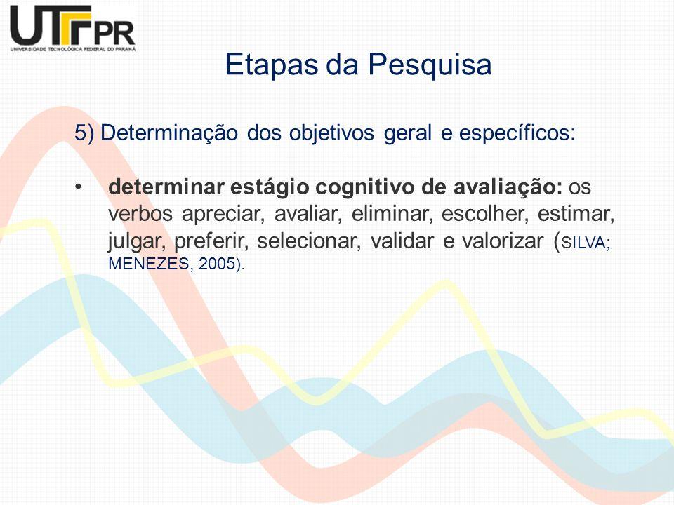 5) Determinação dos objetivos geral e específicos: determinar estágio cognitivo de avaliação: os verbos apreciar, avaliar, eliminar, escolher, estimar
