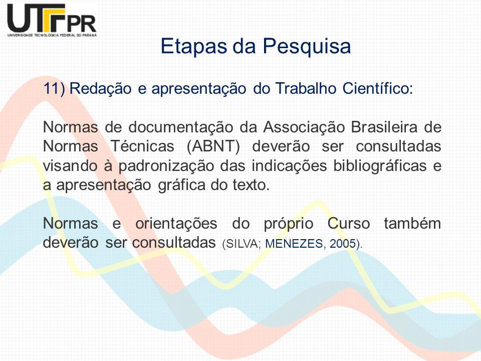 11) Redação e apresentação do Trabalho Científico: Normas de documentação da Associação Brasileira de Normas Técnicas (ABNT) deverão ser consultadas v