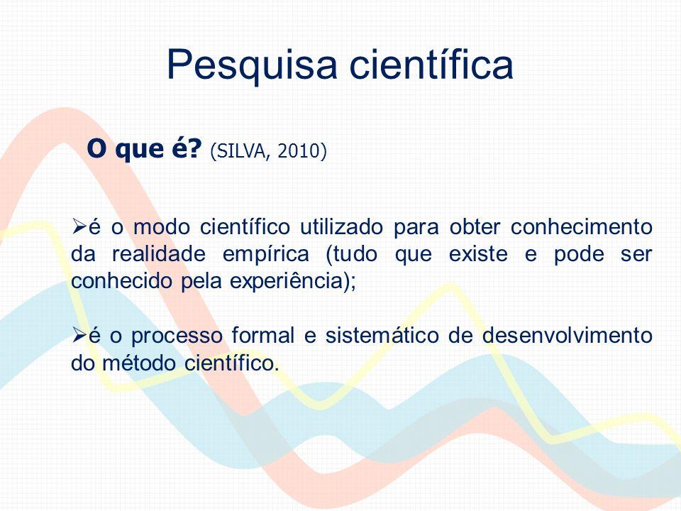 Pesquisa científica é o modo científico utilizado para obter conhecimento da realidade empírica (tudo que existe e pode ser conhecido pela experiência