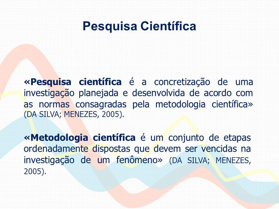 Pesquisa Científica «Pesquisa científica é a concretização de uma investigação planejada e desenvolvida de acordo com as normas consagradas pela metod
