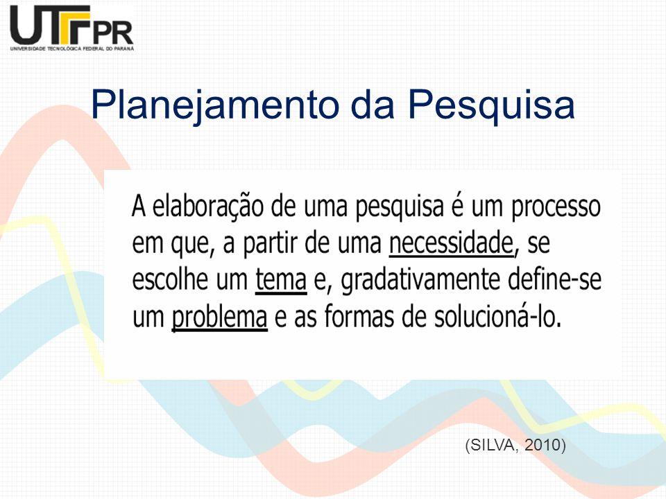 Planejamento da Pesquisa Existem 3 fases do planejamento da pesquisa (SILVA; MENEZES, 2005): Fase decisória referente à escolha do tema, à definição e à delimitação do problema da pesquisa;