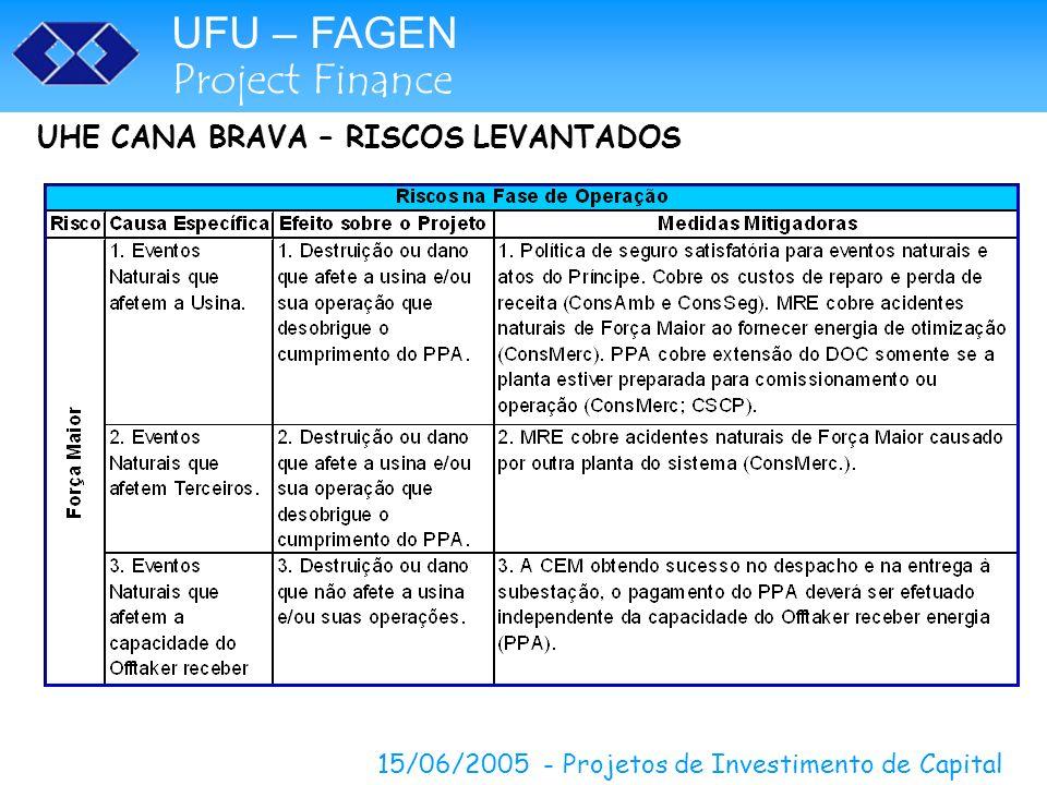 UFU – FAGEN Project Finance 15/06/2005 - Projetos de Investimento de Capital UHE CANA BRAVA – RISCOS LEVANTADOS
