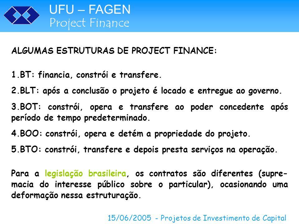 UFU – FAGEN Project Finance 15/06/2005 - Projetos de Investimento de Capital UHE CANA BRAVA – CONTRATOS E GARANTIAS MERCADO Localização estratégica Custo da Geração ESTRUTURA FINANCEIRA Alavancagem de 70% do valor do projeto Vantagem – ganho financeiro referente a desvalorização cambial Negativo – descasamento do fluxo de caixa ECONOMIA BRASILEIRA Taxas de Juros alta, inflação e instabilidade cambial