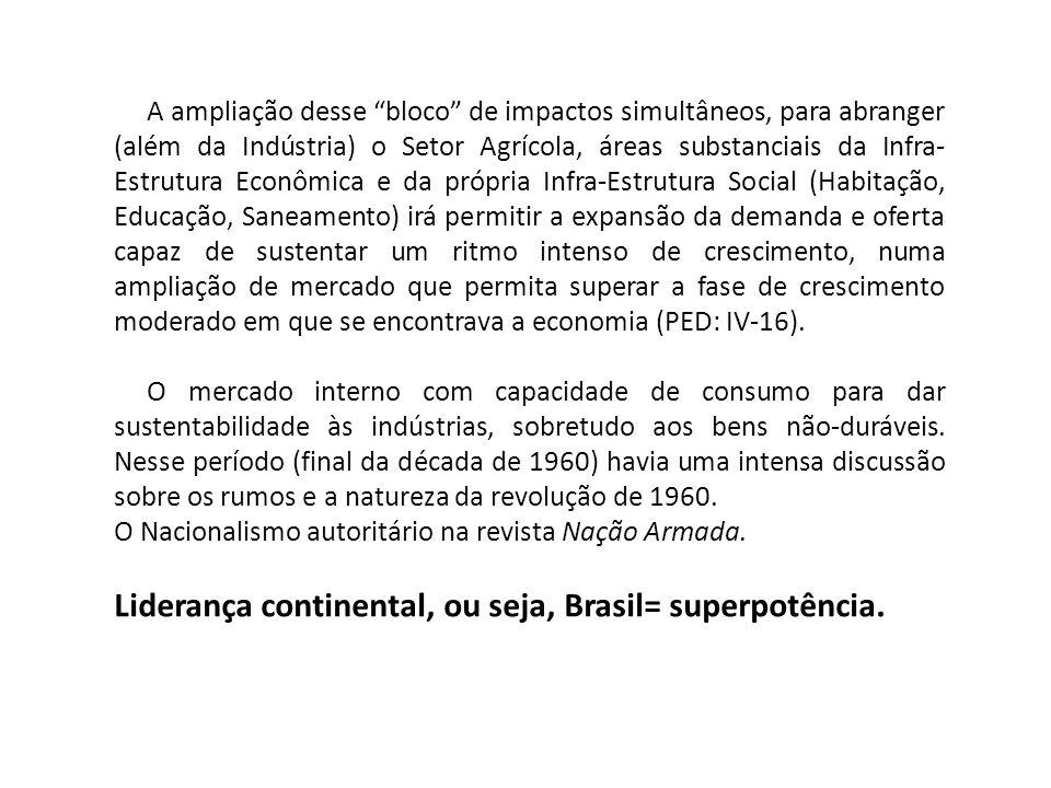 A ampliação desse bloco de impactos simultâneos, para abranger (além da Indústria) o Setor Agrícola, áreas substanciais da Infra- Estrutura Econômica