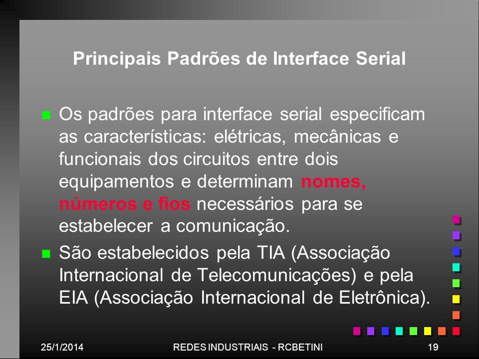 25/1/201419REDES INDUSTRIAIS - RCBETINI Principais Padrões de Interface Serial n n Os padrões para interface serial especificam as características: el