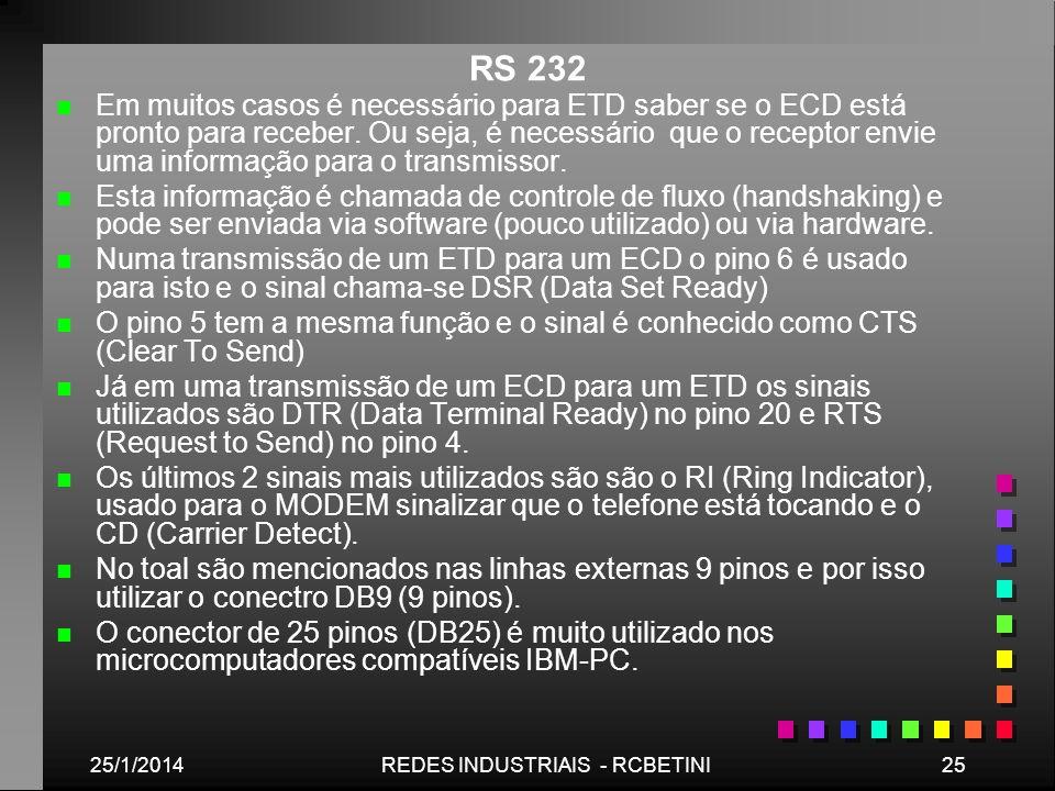 25/1/201425REDES INDUSTRIAIS - RCBETINI RS 232 n n Em muitos casos é necessário para ETD saber se o ECD está pronto para receber. Ou seja, é necessári