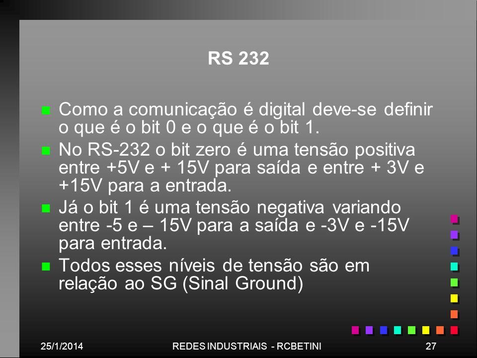 25/1/201427REDES INDUSTRIAIS - RCBETINI RS 232 n n Como a comunicação é digital deve-se definir o que é o bit 0 e o que é o bit 1. n n No RS-232 o bit