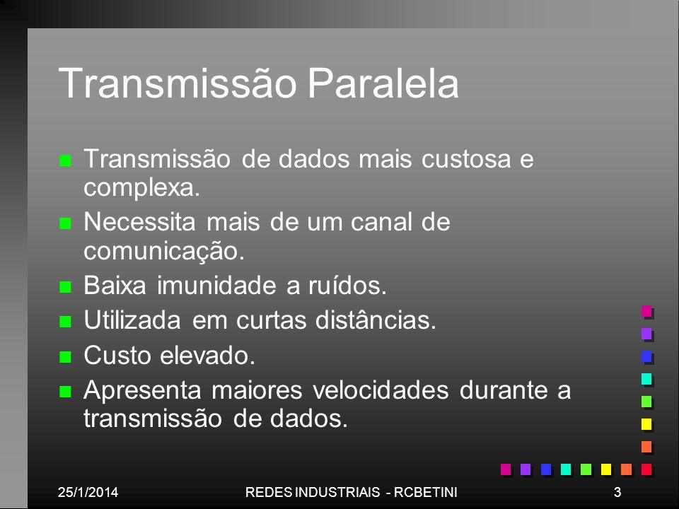 25/1/20143REDES INDUSTRIAIS - RCBETINI Transmissão Paralela n n Transmissão de dados mais custosa e complexa. n n Necessita mais de um canal de comuni