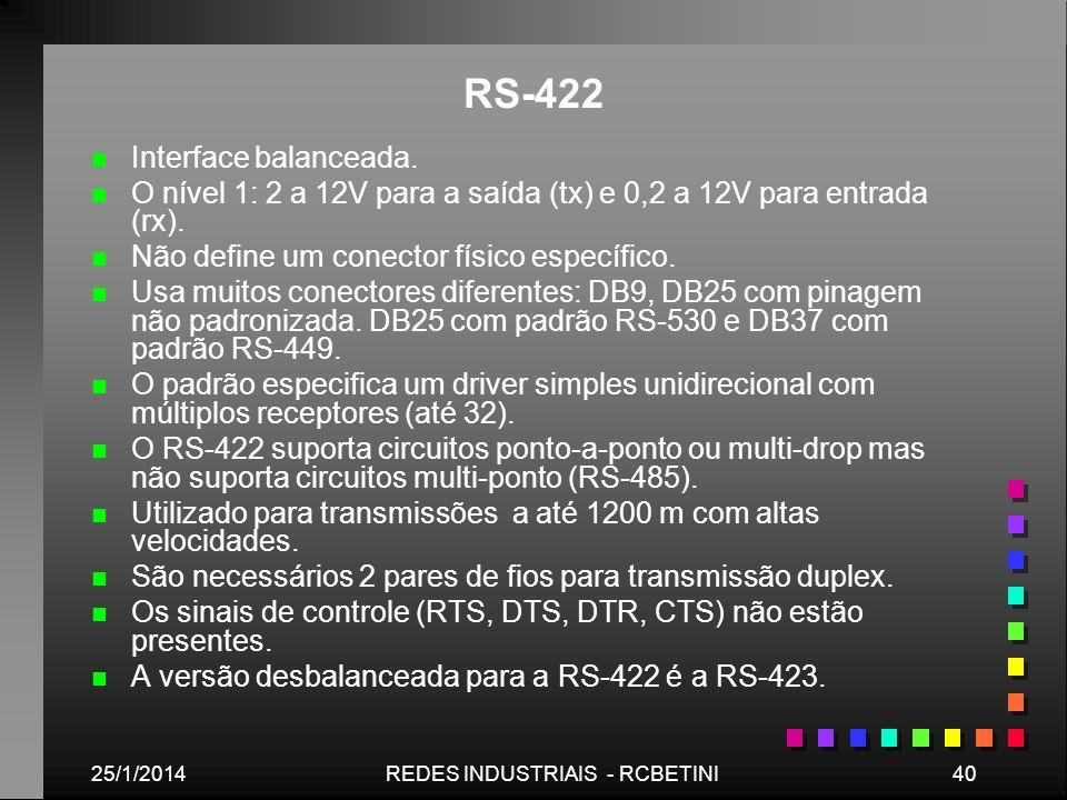 25/1/201440REDES INDUSTRIAIS - RCBETINI RS-422 n n Interface balanceada. n n O nível 1: 2 a 12V para a saída (tx) e 0,2 a 12V para entrada (rx). n n N