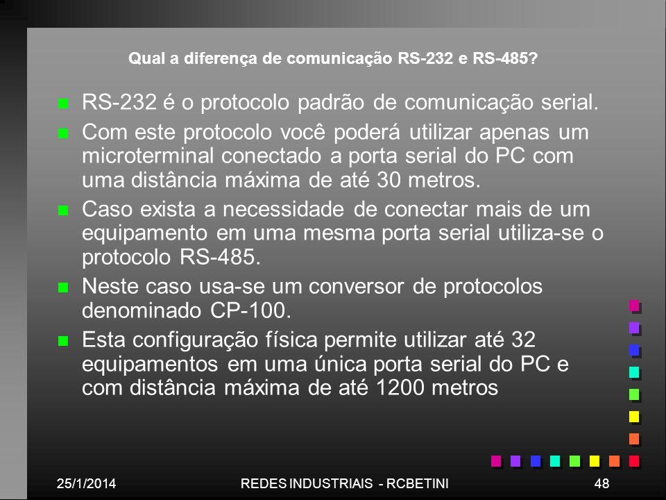 25/1/201448REDES INDUSTRIAIS - RCBETINI Qual a diferença de comunicação RS-232 e RS-485? n n RS-232 é o protocolo padrão de comunicação serial. n n Co