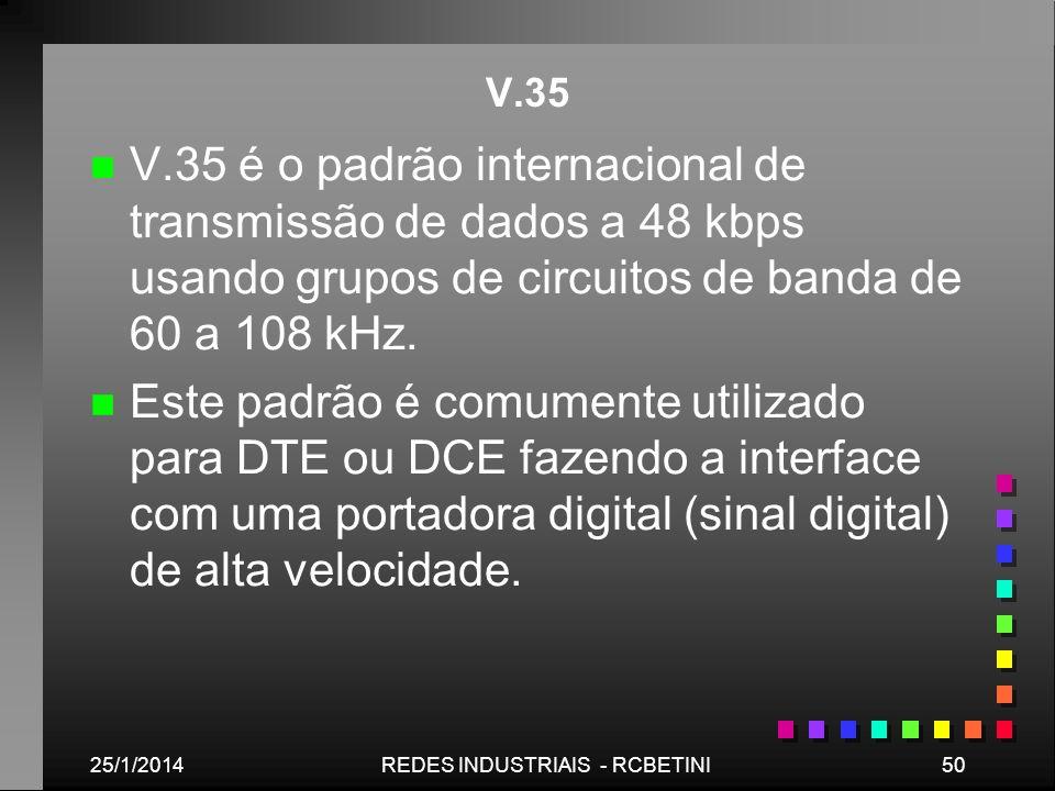 25/1/201450REDES INDUSTRIAIS - RCBETINI V.35 n n V.35 é o padrão internacional de transmissão de dados a 48 kbps usando grupos de circuitos de banda d