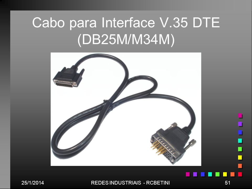 25/1/201451REDES INDUSTRIAIS - RCBETINI Cabo para Interface V.35 DTE (DB25M/M34M)