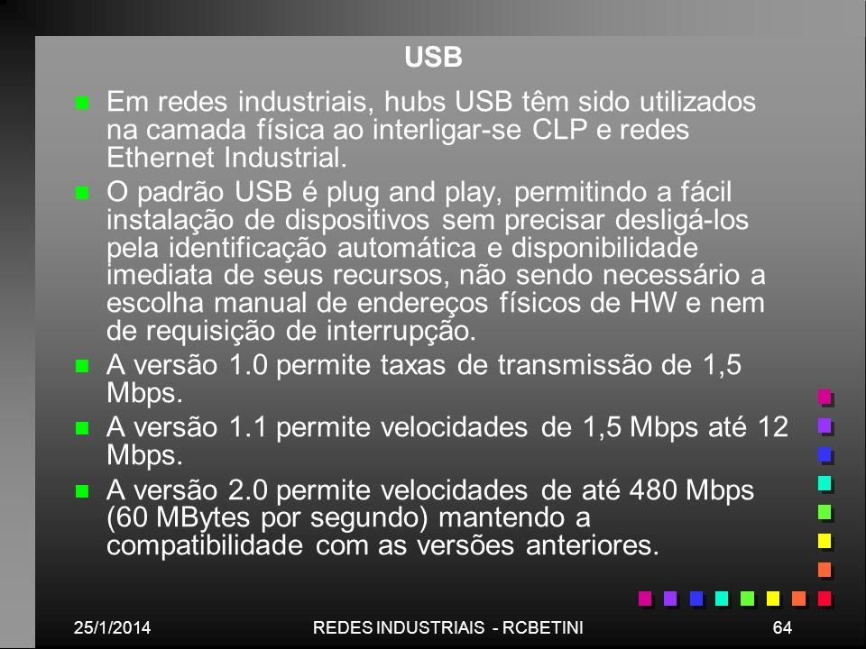 25/1/201464REDES INDUSTRIAIS - RCBETINI USB n n Em redes industriais, hubs USB têm sido utilizados na camada física ao interligar-se CLP e redes Ether